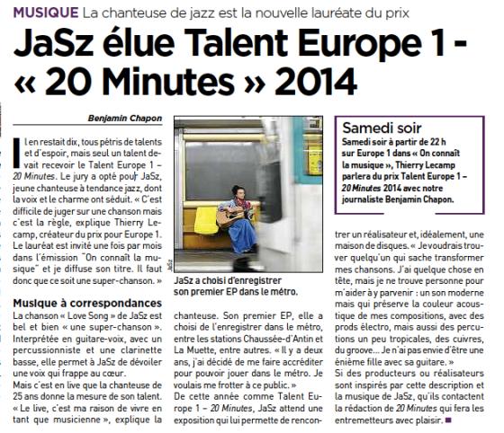 jaSz talent Europe 1 - 20 minutes 2014 !